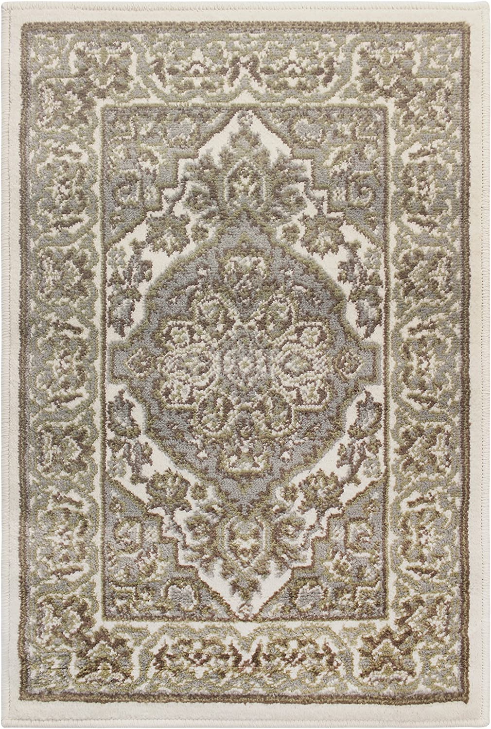 SUPERIOR Glendale Collection Area Rug - Traditional Brown Oriental Rug, 8 mm Pile, Jute Backing Floor Rug, Green, 2' x 3'