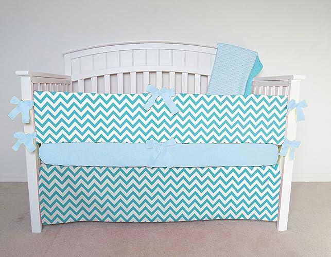 Amazon Com 4 Piece Crib Set Aqua Chevron Crib Bedding Aqua