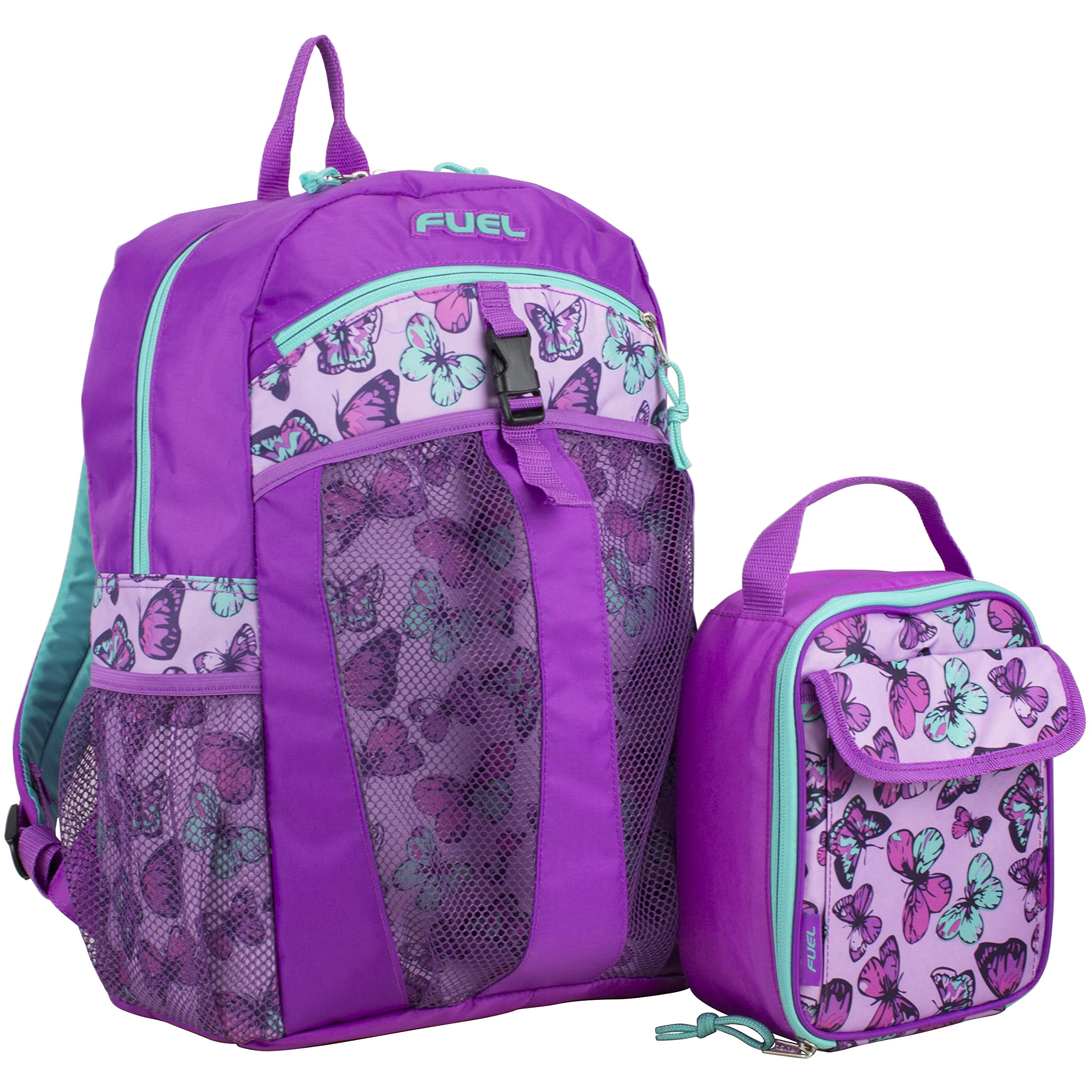 Fuel Backpack & Lunch Bag Bundle, Grape/Turqoise/Colorful Butterflies Print by Fuel