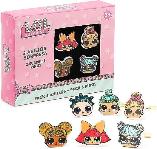 L.O.L. Surprise! Paquete De 6 Anillos Para Niñas Con Sus Muñecas LOL Favoritas | Conjunto De Anillos Ajustables | Accesorios De Lol Para Cumpleaños De Niños Y Para Vestir | Selección Sorpresa: Amazon.es: Joyería