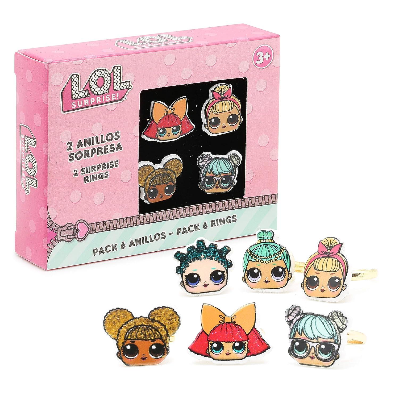 L.O.L. Surprise ! Coffret Cadeau De 6 Bagues Pour Filles Avec Ses Poupées Lol Surprise Préférées | Assortiment de bagues réglables pour enfants |Bijoux Accessoires Poupées Lol Pour Enfant