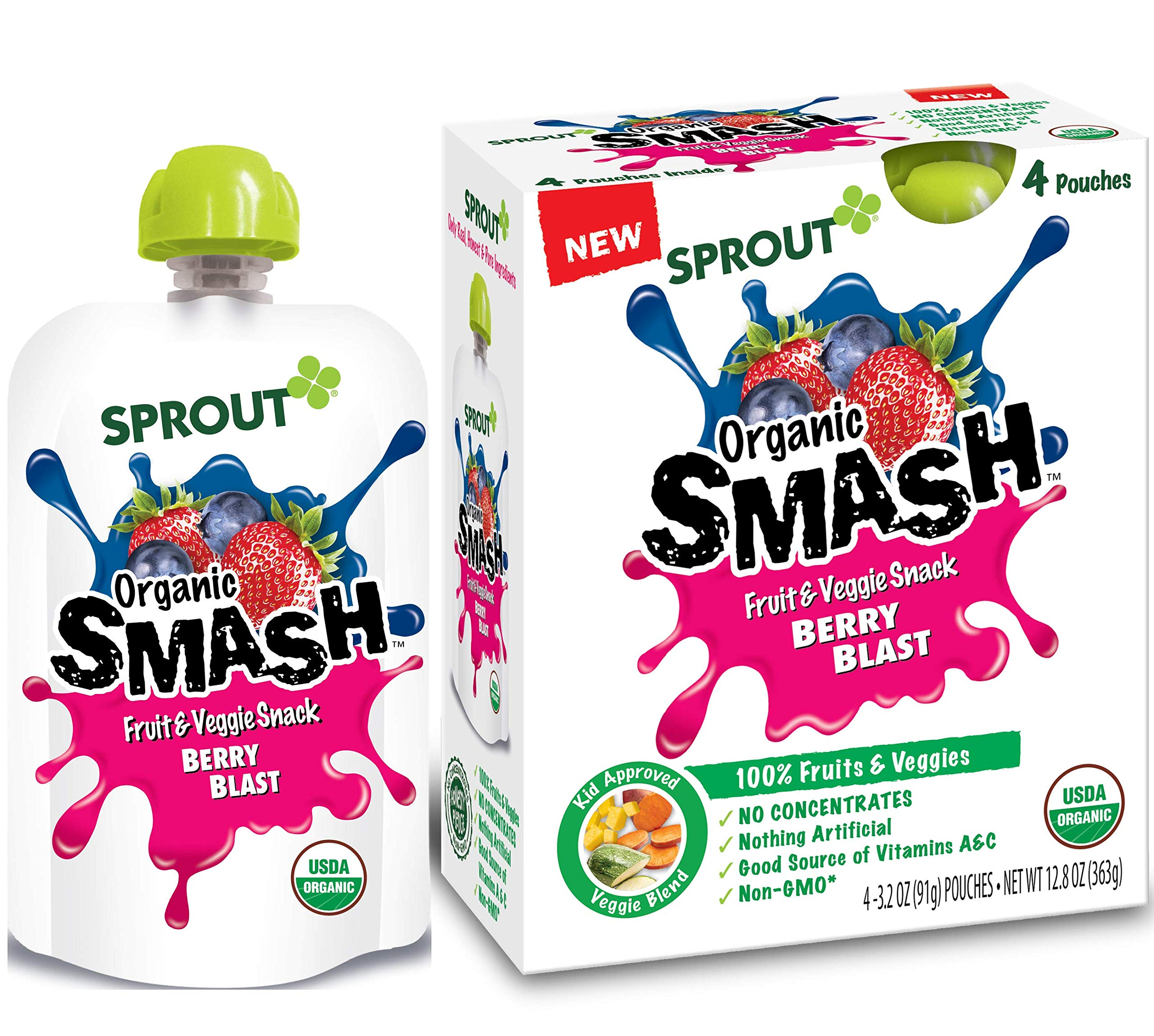 Sprout Organic SMASH Snack Pouches Fruit and Vegetable Puree, Berry Blast, 3.2 Ounce, 16 Count