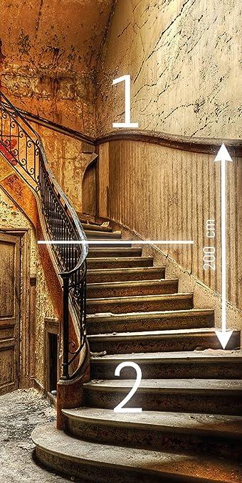 murimage Papel Pintado Puerta Escalera 3D 86cm x 200cm escalón Madera antigüedades Castillo Entrada rústico Vintage gradas Foto Mural Incluye ...