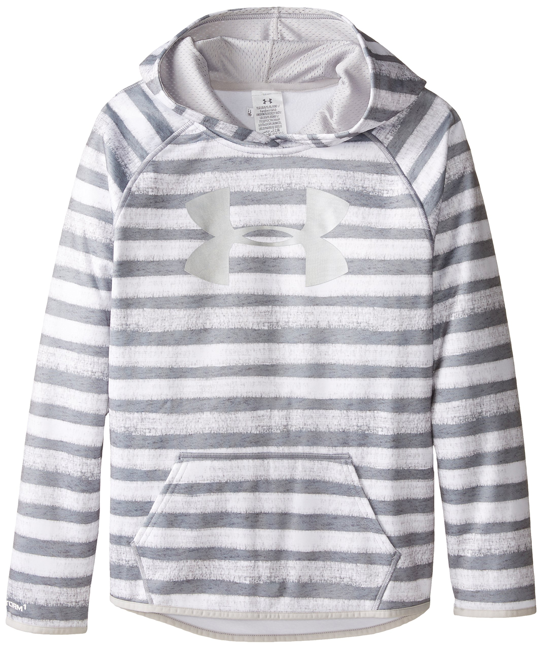 Under Armour Women's Armour Fleece Printed Big Logo Hoodie, True Gray Heather /Silver, Youth Small by Under Armour