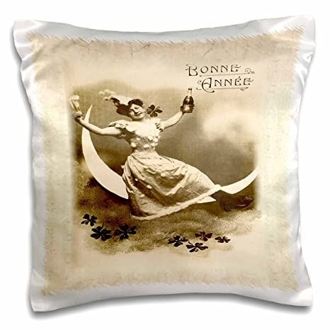 3d rose image of lady on moon on french new year card pillow case 16quot