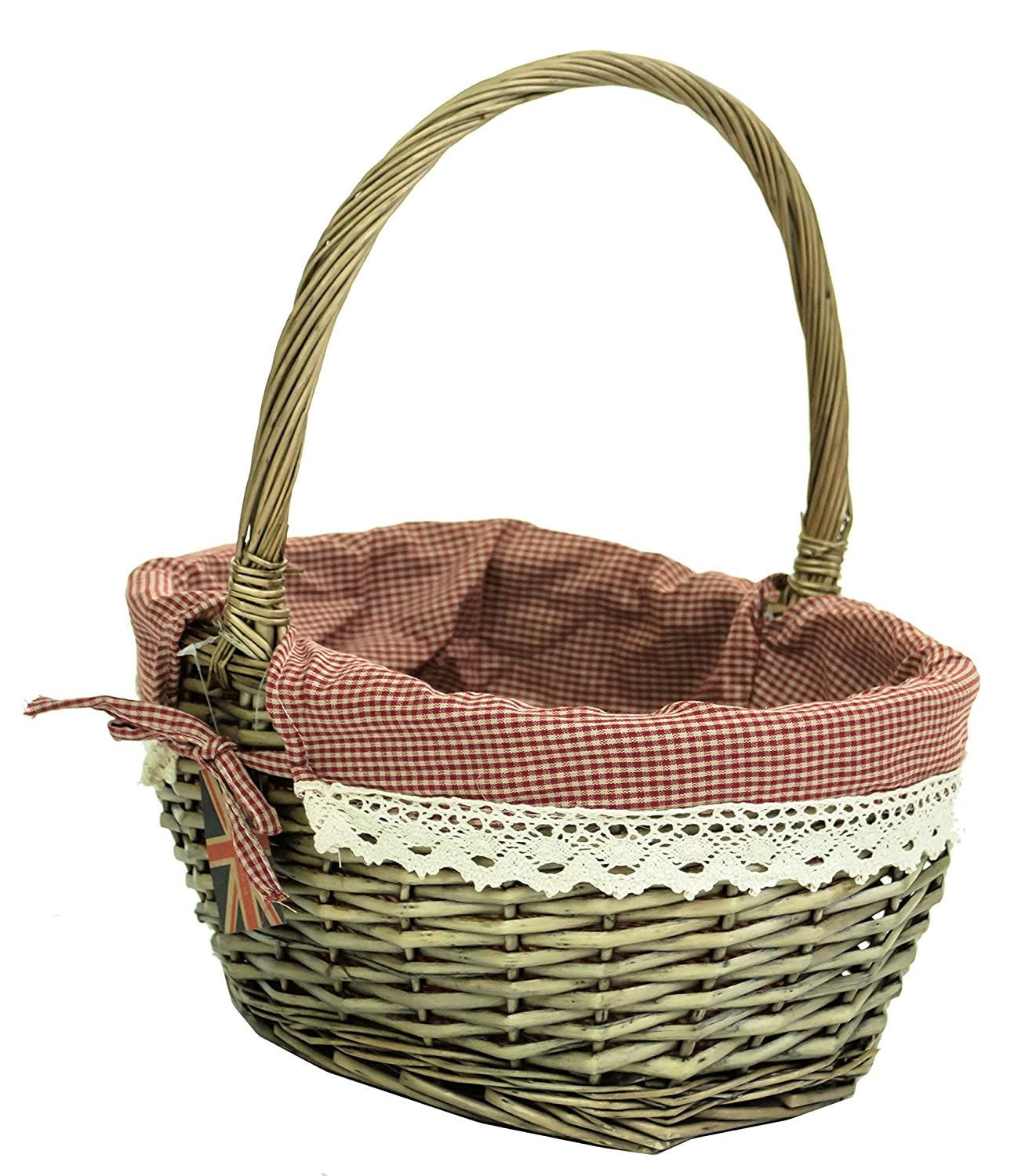 Traditional Wicker Shopping Basket With Lining /& Folding Carry Handles White NEW