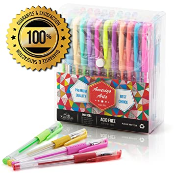 Amazing Bolígrafos de Gel Para Adulto Para Colorear Libros por Amerigo – Set de 48 colores