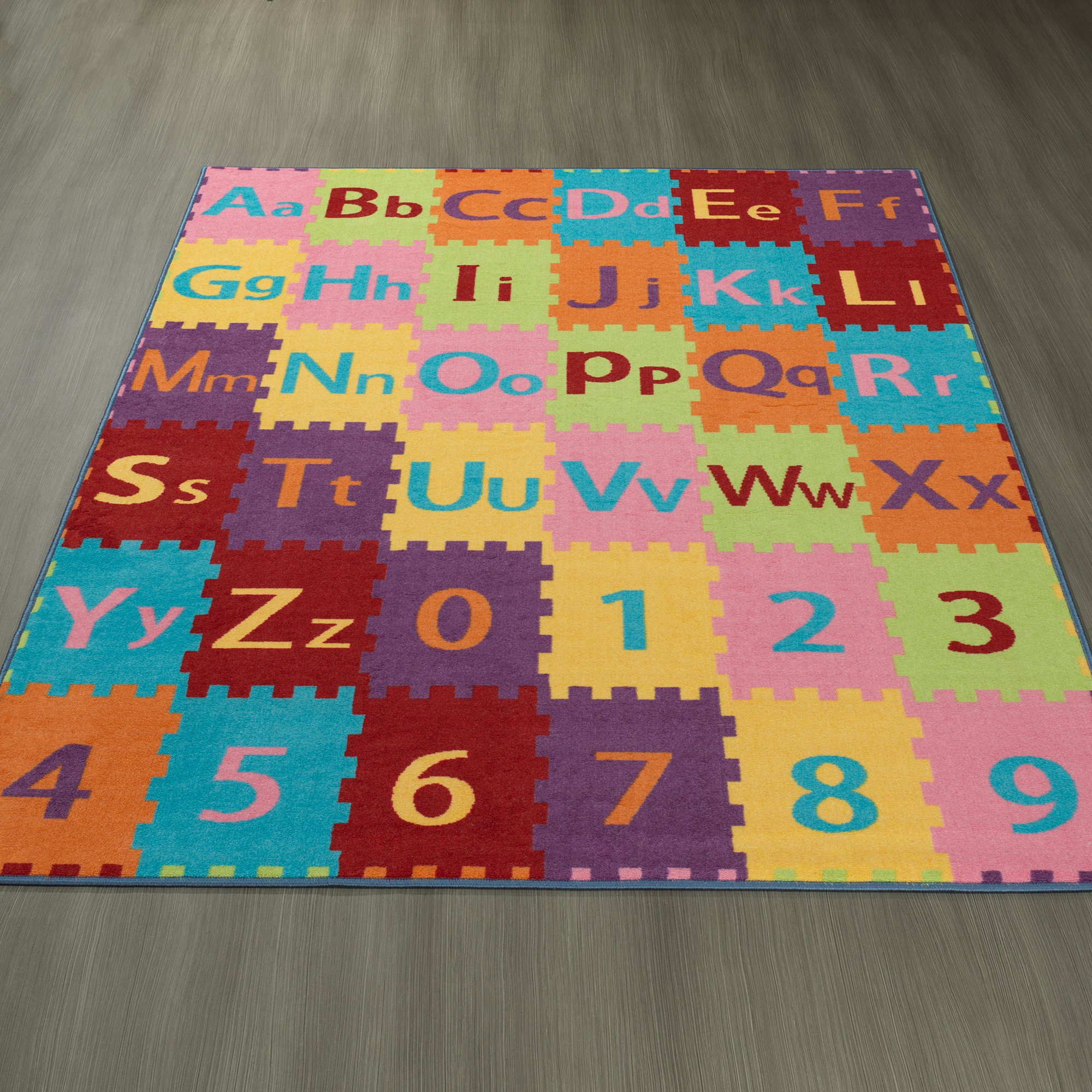 Ottomanson Garden Collection Alphabet Letters and Numbers Design Children Nursery Kid's Play Area Rug, 8'2'' X9'10'', Multicolor