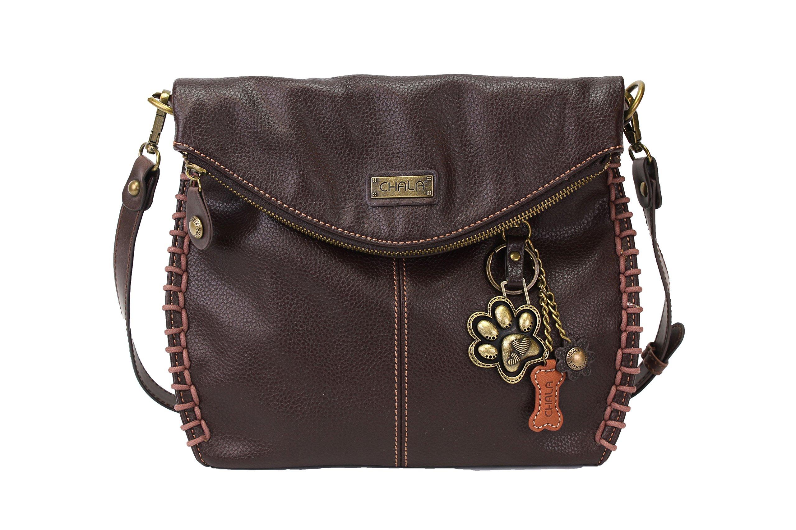 Chala Charming Crossbody Bag with Zipper Flap Top and Metal Chain - Dark Brown - Paw Print