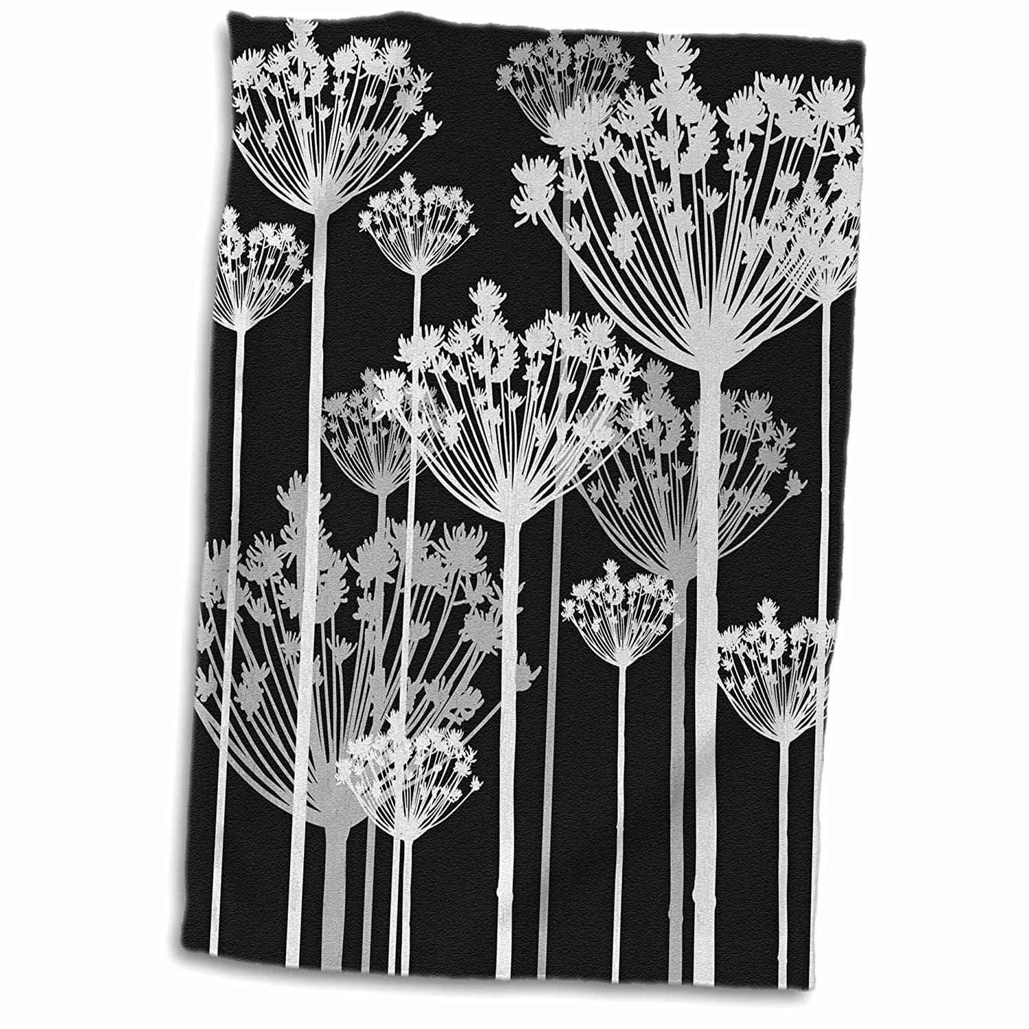"3D Rose Contemporary Black-White-and Gray Dandelions Hand Towel, 15"" x 22"""