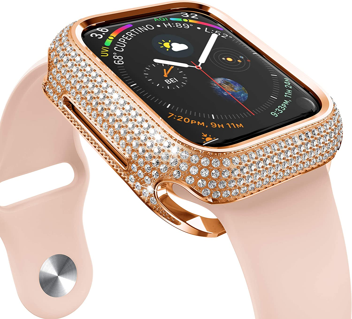 NotoCity Compatible with Apple Watch Case 40MM Stainless Steel Metal Buling Diamond Protective Cover,18K Sparkling Crystal Case for Series 5/Series 4 for Women(Rose Gold)