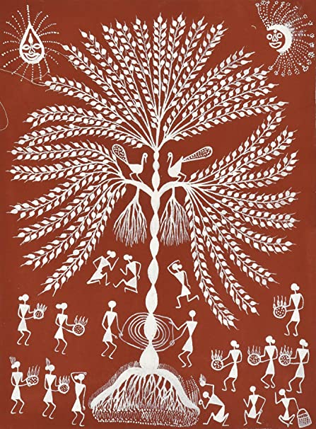 Exotic india tree of life warli painting on cotton fabric folk exotic india tree of life warli painting on cotton fabric folk art of the thecheapjerseys Image collections