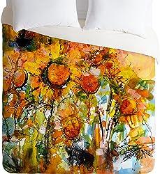 Deny Designs Ginette Fine Art Abstract Sunflowers Duvet Cover, King