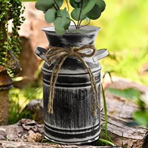 Fovasen Rope Shabby Chic Galvanized Milk Can Rustic Farmhouse Vase Metal Jug French Country Bucket with Handle for Home Wedding Centerpiece Decor -7.5