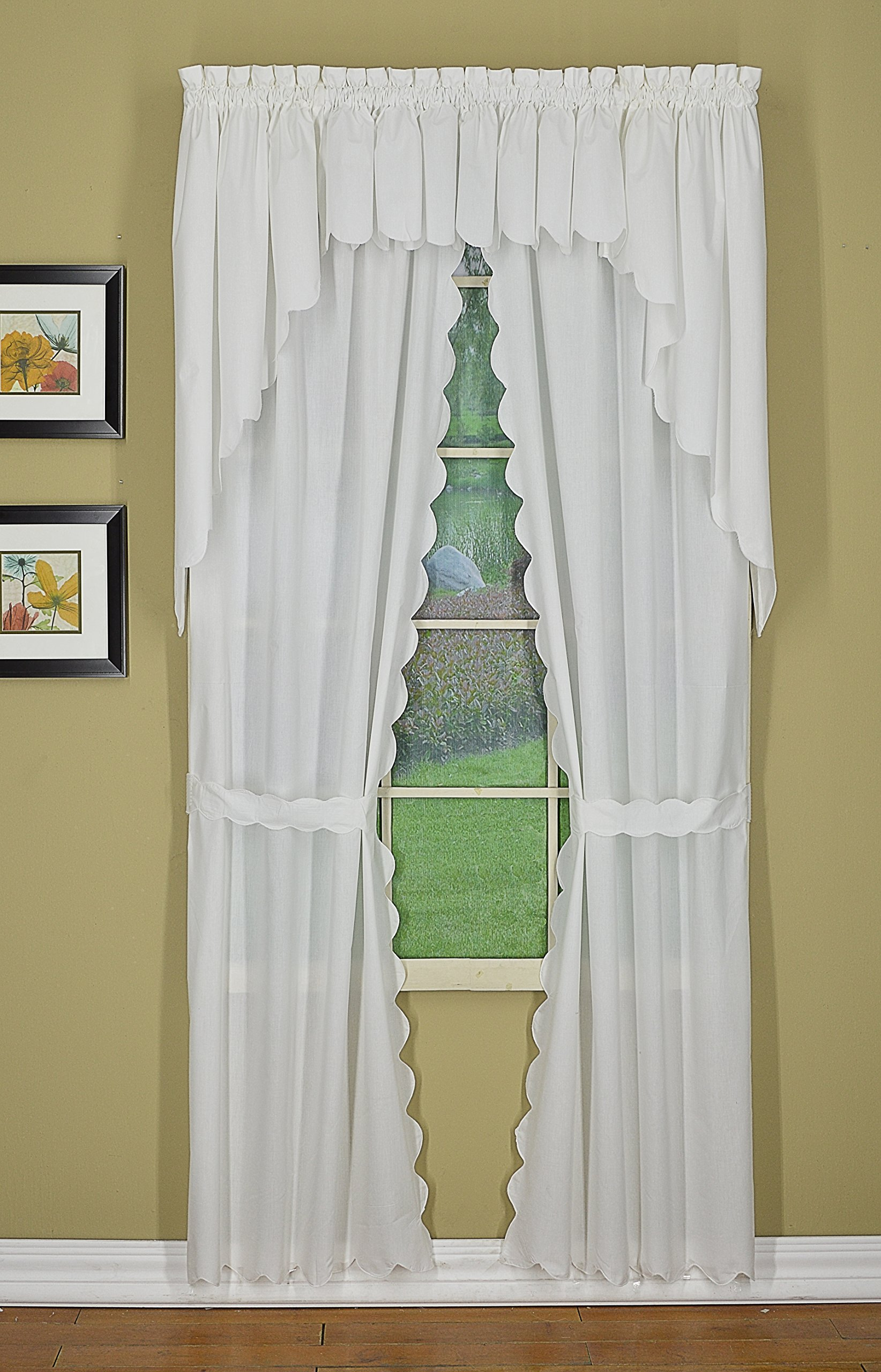 Today's Curtain CA2003K Orleans 54'' Panel Pair with Tiebacks Tambour Scallop Edge Curtain, White, 60'' W x 54'' L/TB