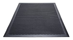 Guardian 14040600 Clean Step Scraper Outdoor Floor Mat, Natural Rubber, 4'x 6', Black, Ideal for any outside entryway, Scrapes Shoes Clean of Dirt and Grime