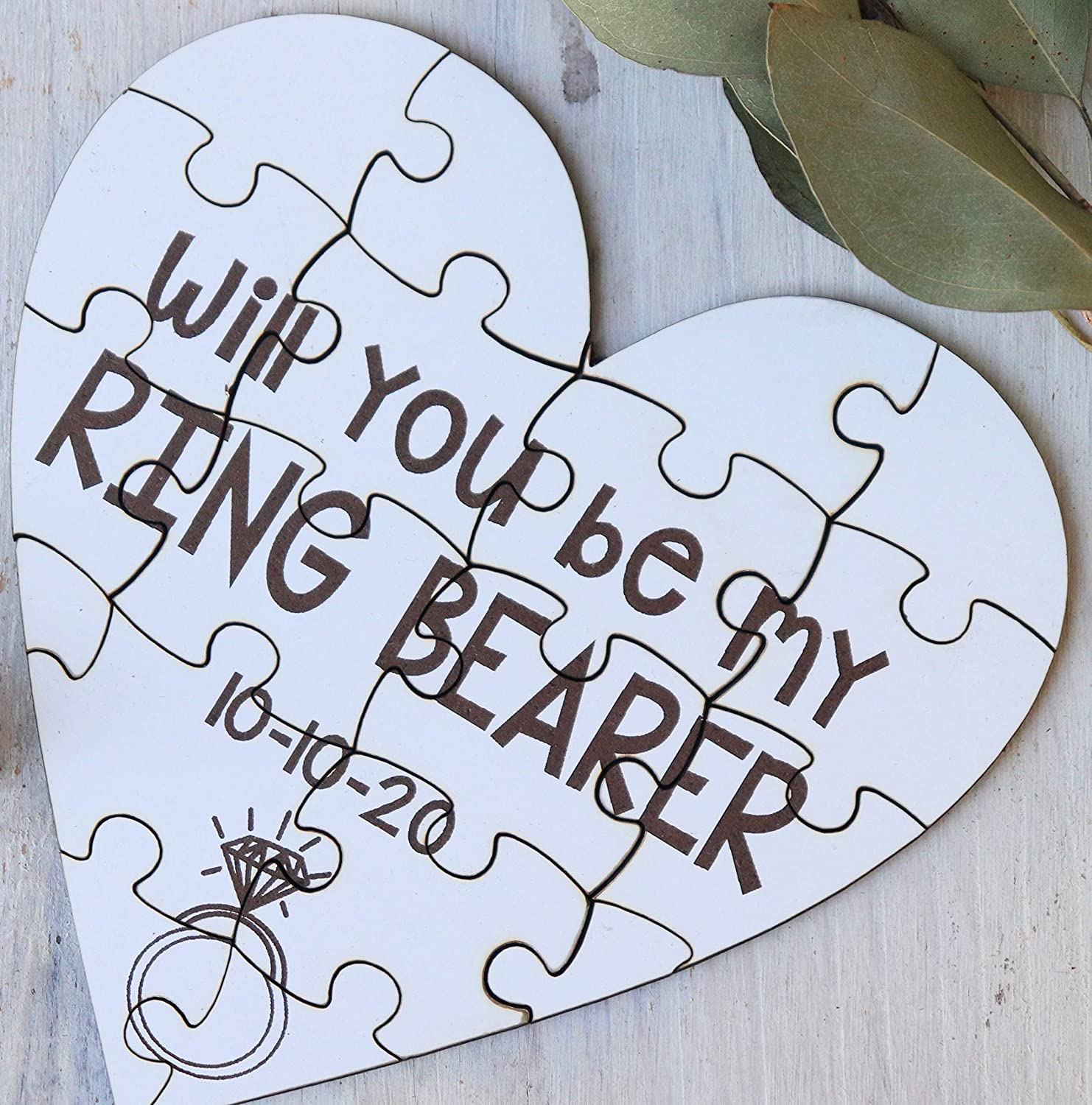 Will You Be My Ring Bearer Heart Shaped Personalized Puzzle