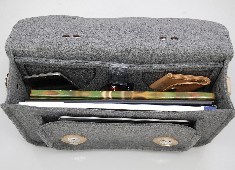 Macbook Pro,Custom size Laptop bag satchel Felt Laptop bag with leather leather straps case messenger bag