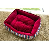 Merax  Red Stripe Pet Bed Crystal Velvet Dog Bed