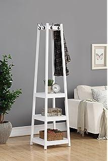 Roundhill Furniture Vassen Coat Rack With 3 Tier Storage Shelves, White  Finish
