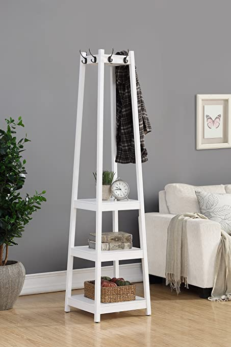 Exceptionnel Roundhill Furniture Vassen Coat Rack With 3 Tier Storage Shelves, White  Finish