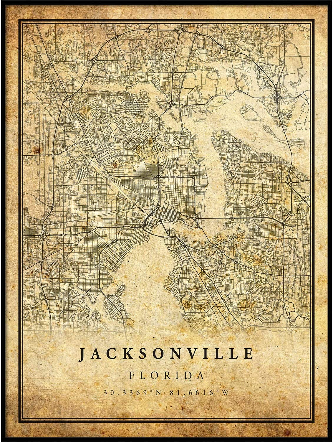 Jacksonville map Vintage Style Poster Print   Old City Artwork Prints   Antique Style Home Decor   Florida Wall Art Gift   high res Vintage map 11x14
