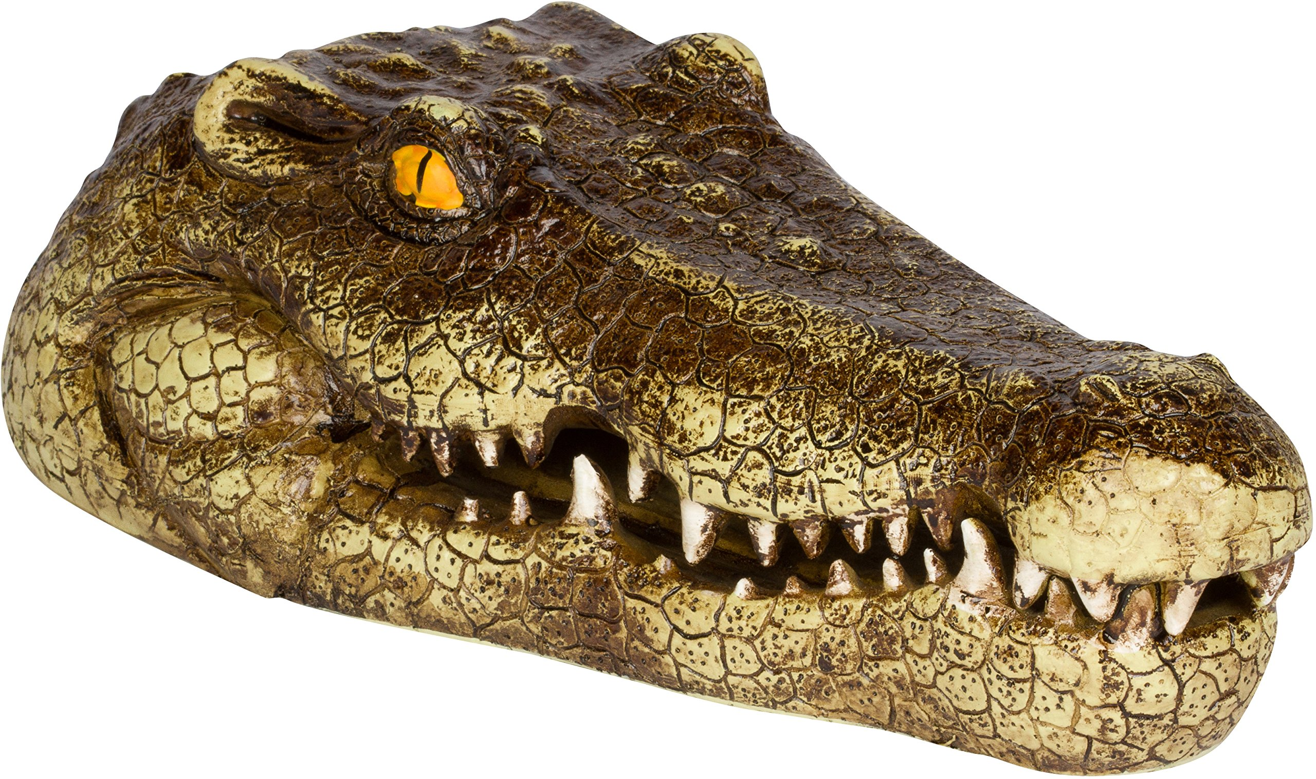 Trademark Innovations 11'' Fake Alligator Head Pool Float Blue Heron Decoy for Ponds, and Water Features by