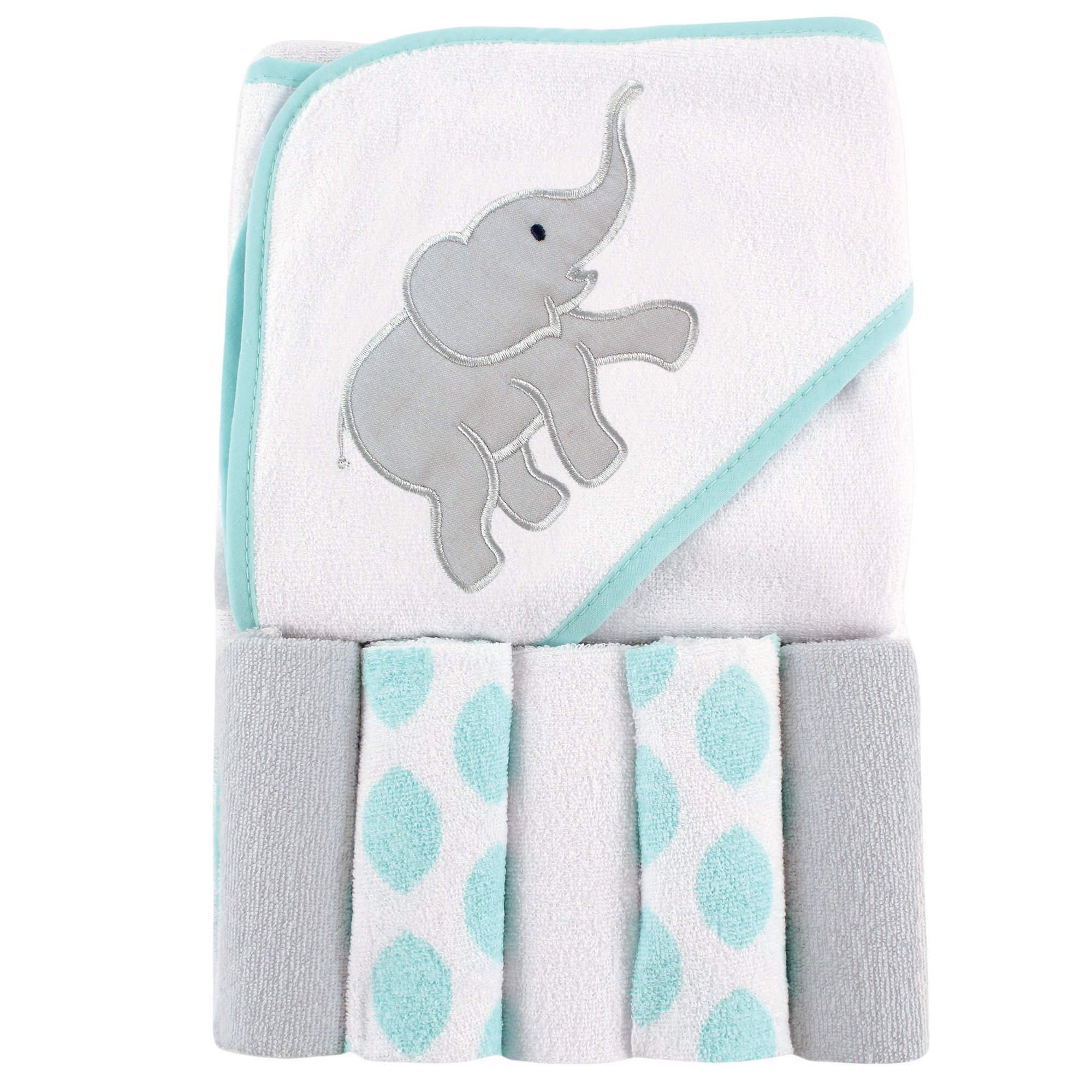 Luvable Friends Hooded Towel with 5 Washcloths, Ikat Elephant