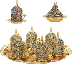 27 Pc Turkish Greek Arabic Coffee Espresso Cup Saucer Crystal Set (Mix Color)