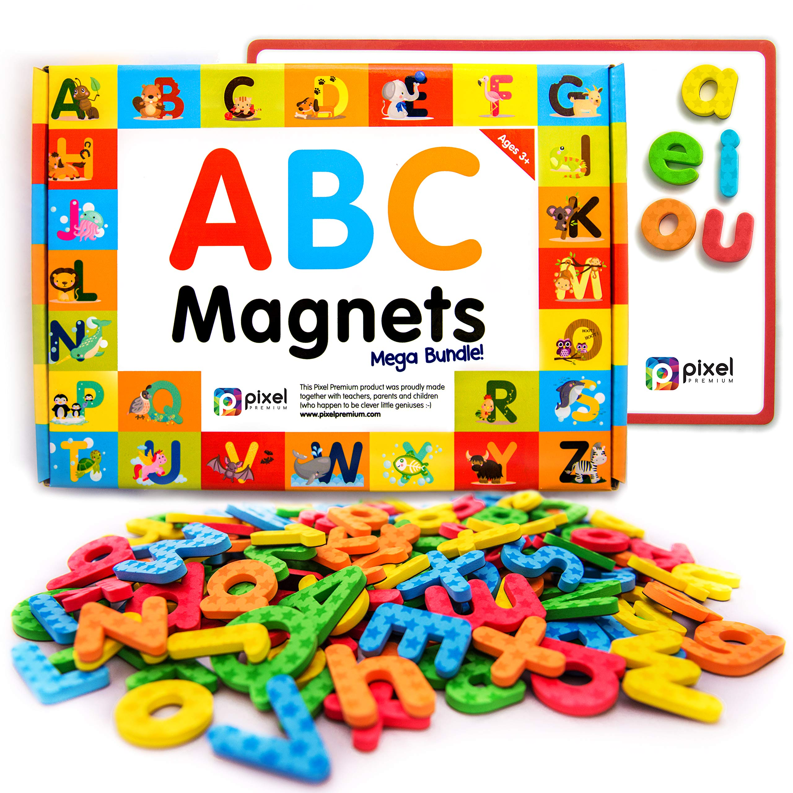 Pixel Premium ABC Magnets for Kids Gift Set - 142 Magnetic Letters for Fridge, Dry Erase Magnetic Board and FREE e-Book with 40+ Learning & Spelling Games - Best Alphabet Magnets for Refrigerator Fun! by Pixel Premium