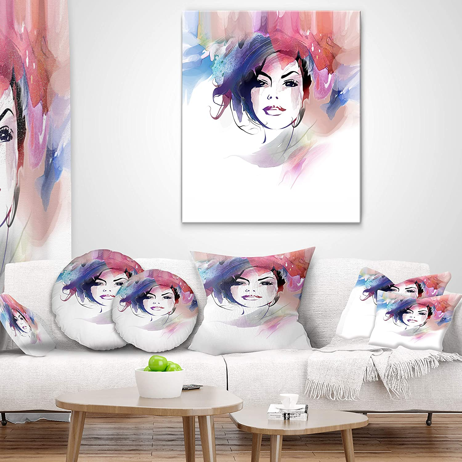 Sofa Throw Pillow 12 in in Designart CU6685-12-20 Beautiful Girl Portrait Lumbar Cushion Cover for Living Room Insert Printed On Both Side x 20 in