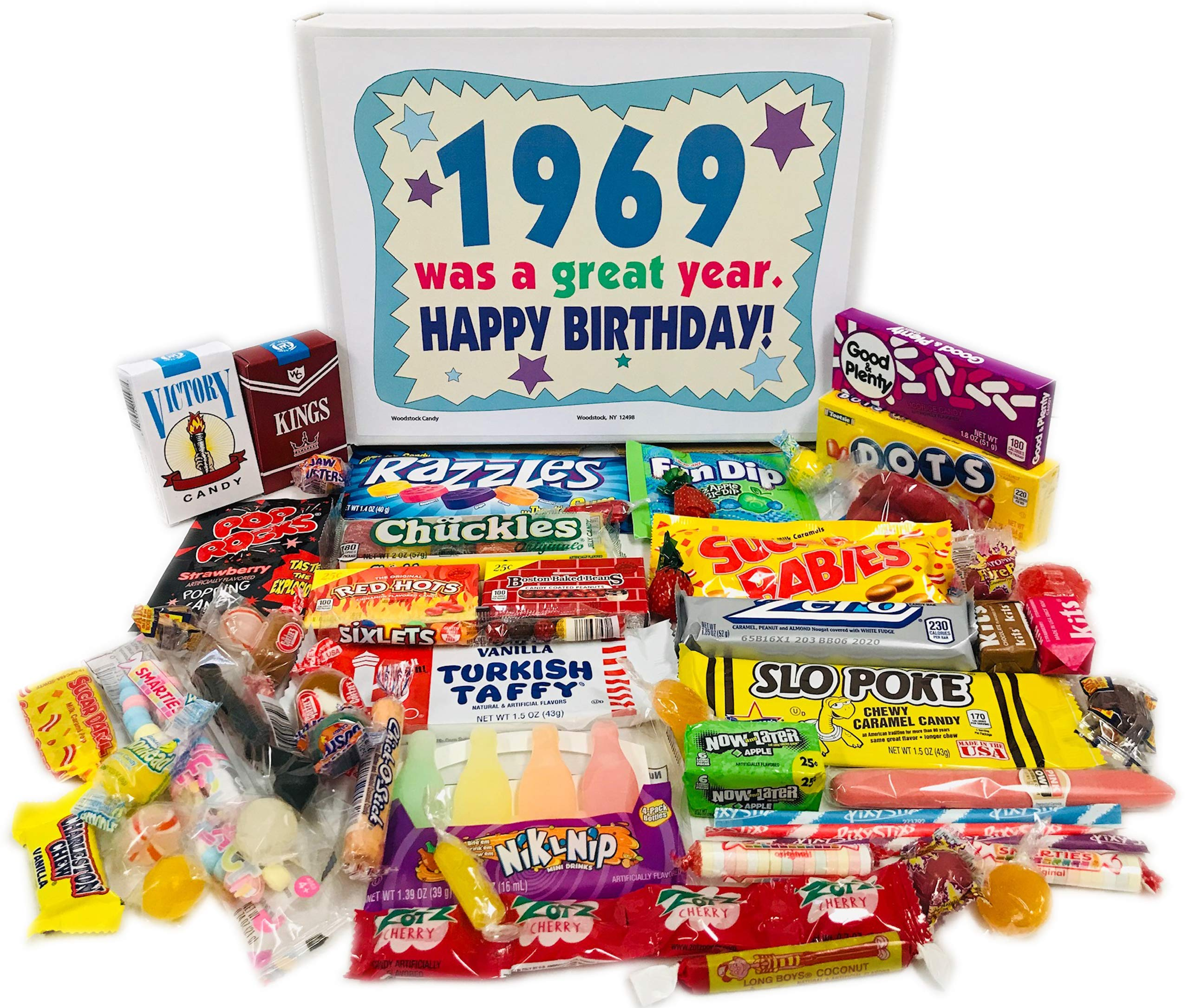 Woodstock Candy ~ 50th Birthday Gift Box Vintage Candy Assortment from Childhood for 50 Year Old Man or Woman Born 1969