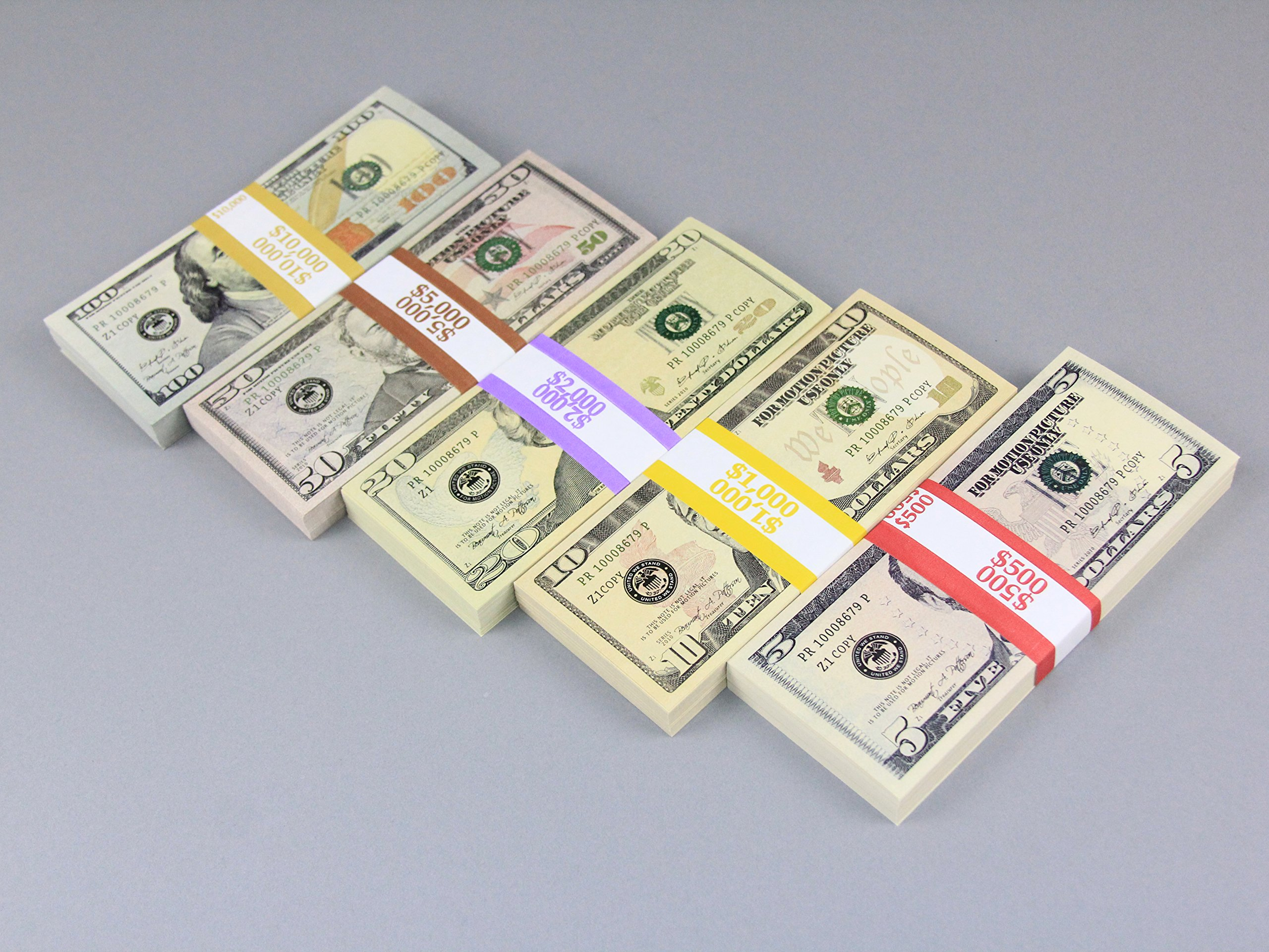 PROP MONEY Real Looking New Style Copy $18,500 Mixed FULL PRINT Pack for Movie, TV, Videos, Advertising & Novelty