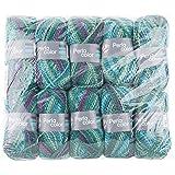 Gründl 3354-14 Perla Color, Vorteilspackung 10 Knäuel à 100 g Handstrickgarn, 100 % Polyester, petrol lila mix, 39 x 20 x 8 cm