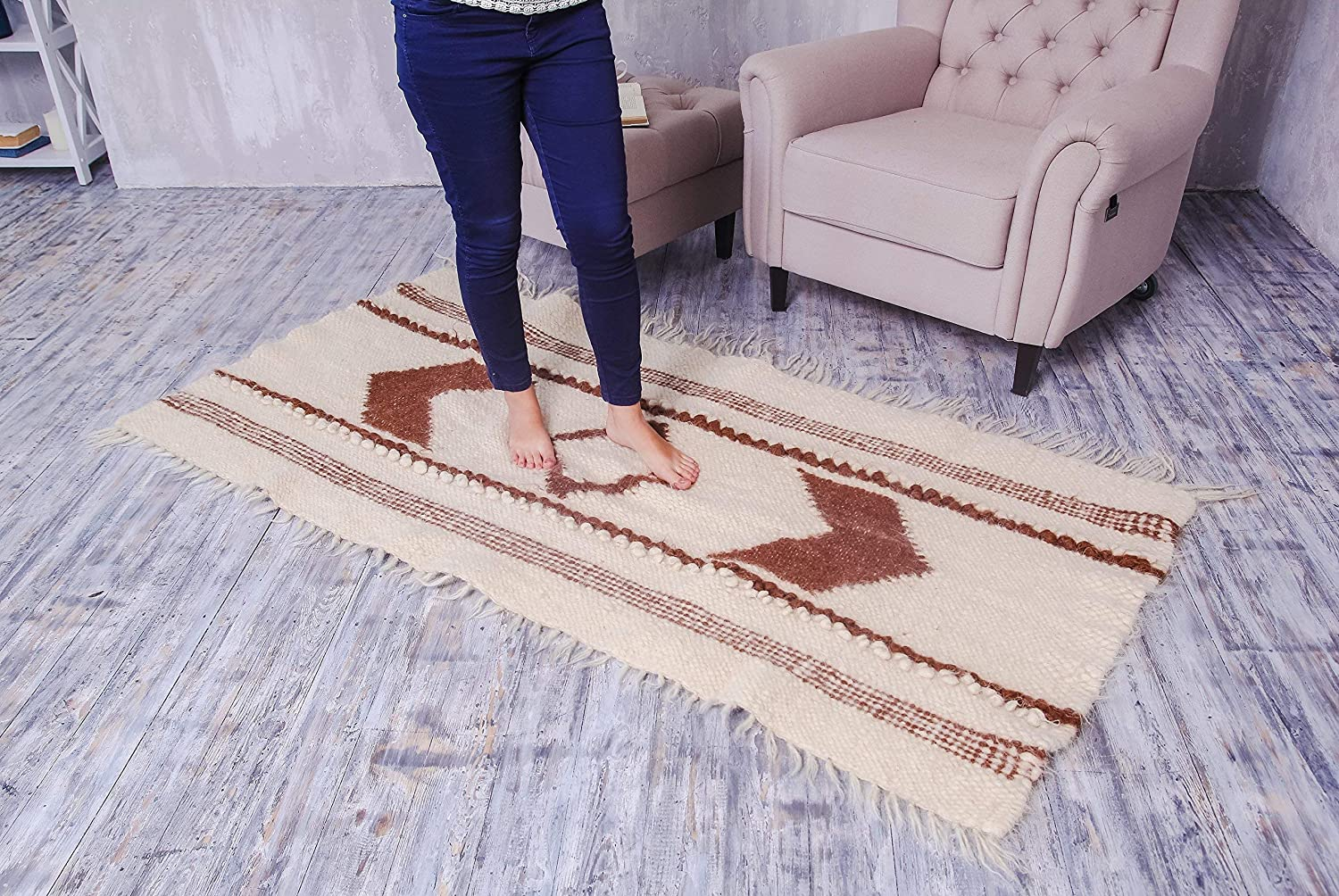 Hall Runner Rug Kitchen Rug Indoore Outdoor Carpet Runner White Wool Area Rug Hand Woven Natural Rustic Home Decor Many Sizes!