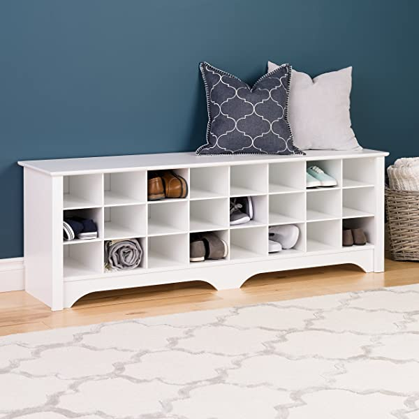 Prepac WSS-6020 24 Pair Shoe Storage Cubby Bench White