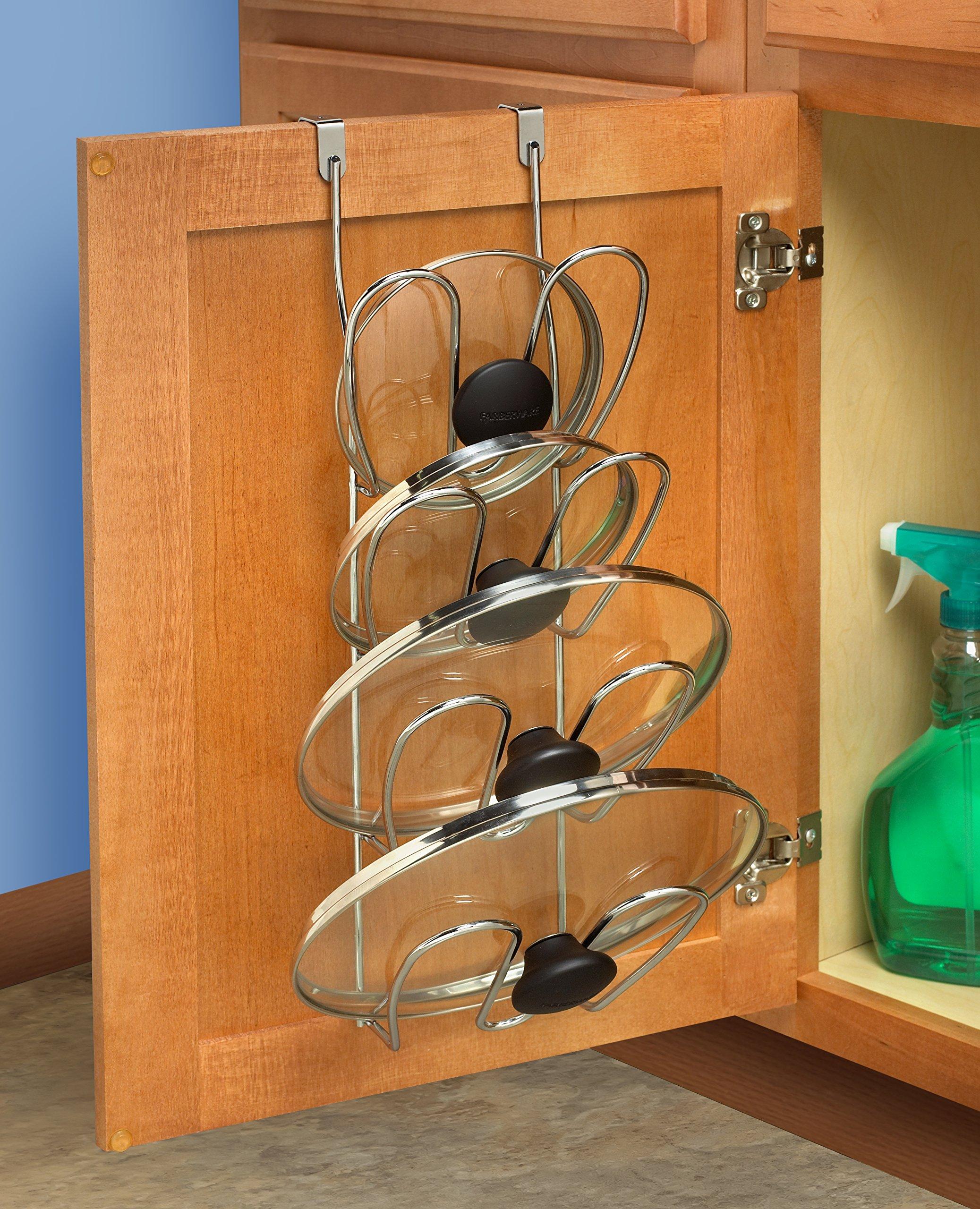 storage holder kitchen cupboard pot lid organizer rack over the cabinet door 691166615513 ebay. Black Bedroom Furniture Sets. Home Design Ideas