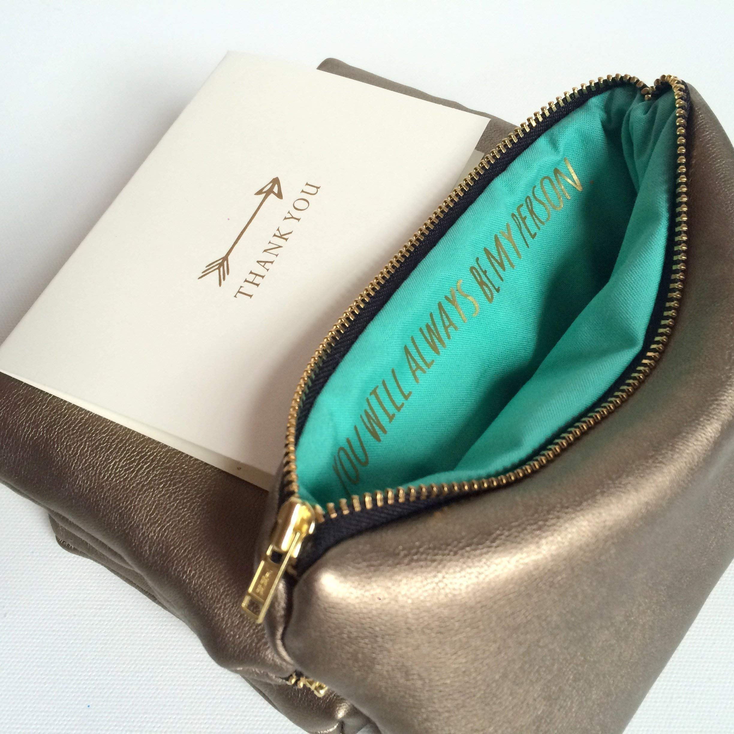 Bridesmaid Gift For Her. Secret Message Makeup Bag. You Will Always Be My Person.