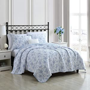 Laura Ashley Home | Walled Garden Collection | Quilt Set - 100% Cotton - Cozy, Soft and Breathable - Reversible & Medium-Weight for All Season Bedding, Full/Queen, Blue