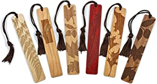 product image for 6 Pack of Leaves and Ferns- Engraved Wooden Bookmarks with Tassels