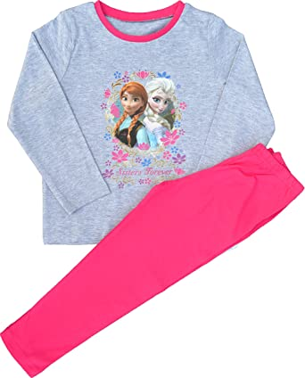 b10c3a781 Girls Disney Frozen Anna and Elsa Sisters Forever Cotton Pyjamas ...