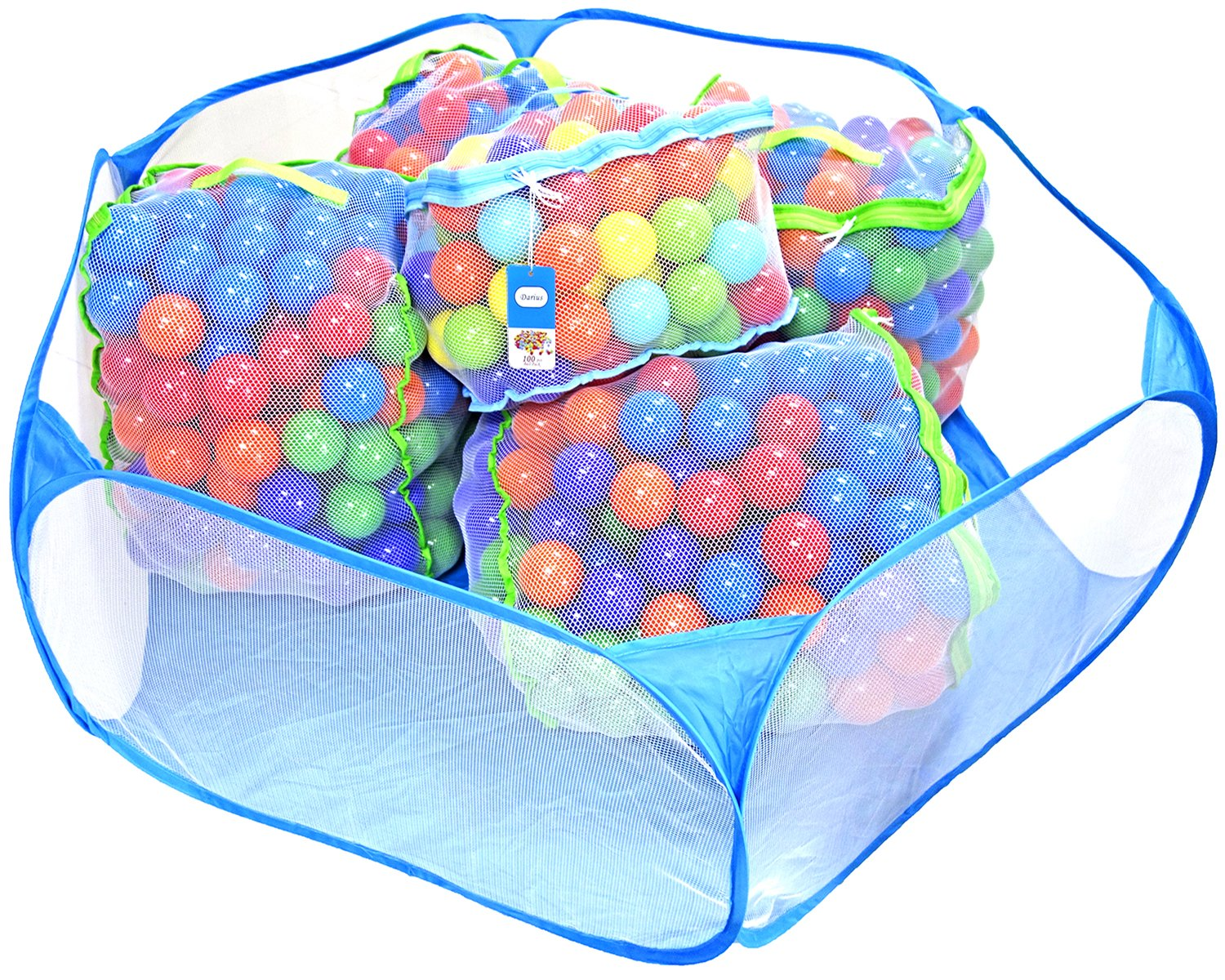 Darius Children Kids Ball Pit Portable Hexagon Playpen Easy Folding Ball Play Pool Toy Play Tent with Storage Bag for Indoor and Outdoor Balls not Included(Blue)