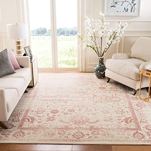 Safavieh Adirondack Collection ADR109H Ivory and Rose Oriental Vintage Distressed Area Rug 4 x 6