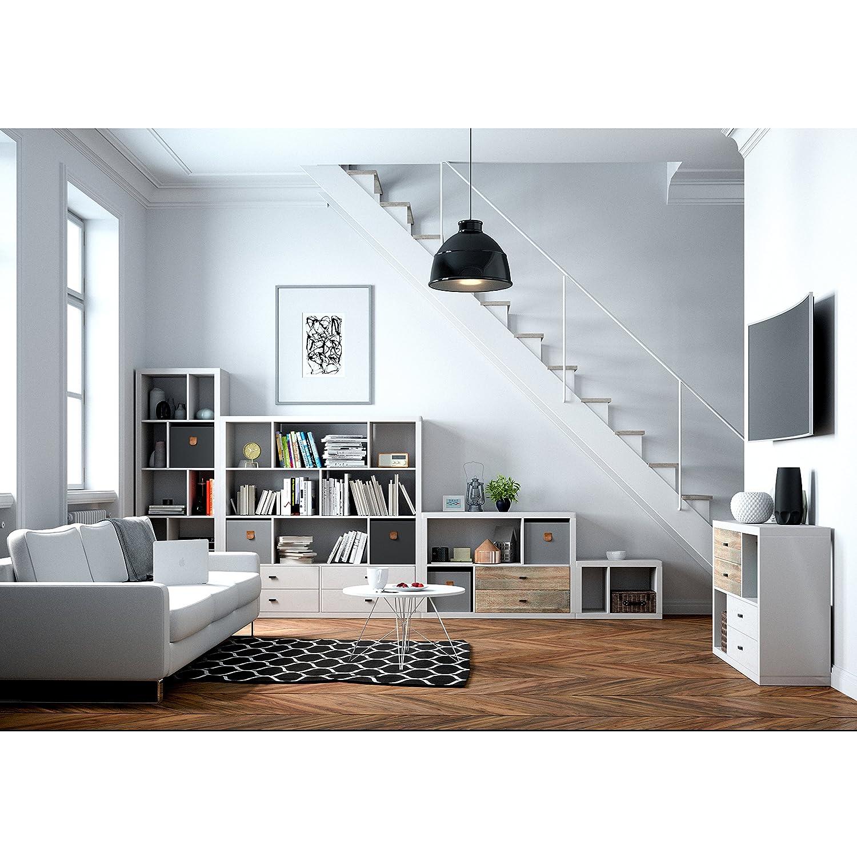 Phönix 118223WE Fortuna Raumteiler mit 6 6 6 Fächern in asymmetrischer Aufteilung, weiß af9a7d