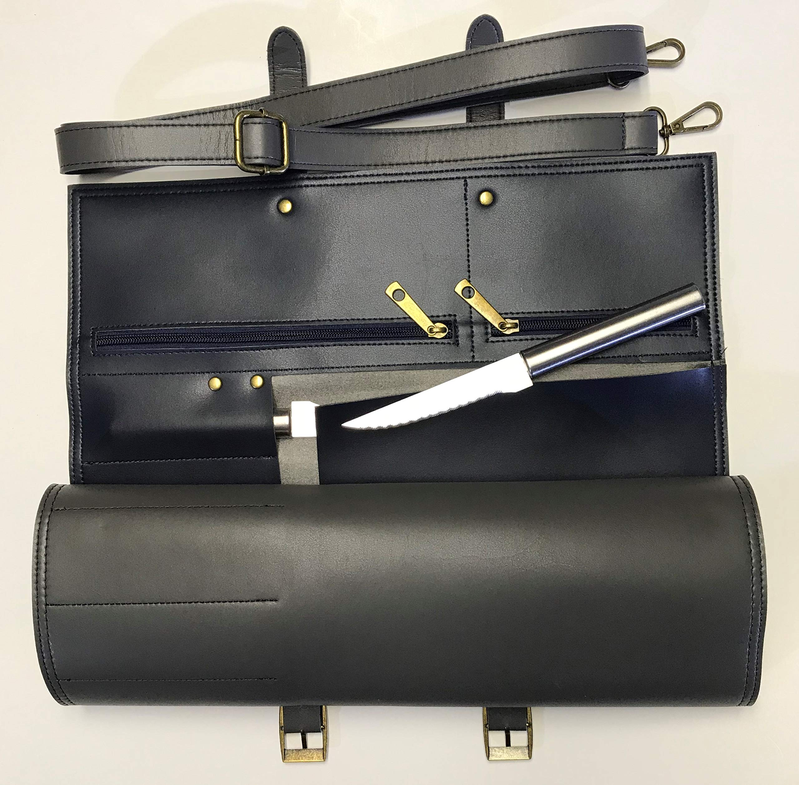 MiM Houston Chef Knife Bag | Large Chef Knife Roll Bag | Fine Leather | W/Business Card Slot | Gray