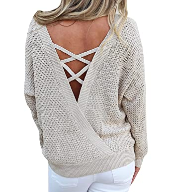 d8e8964c7c Womens Backless Round Neck Criss Cross Sweaters Oversized Casual Loose Knit  Pullover Tops at Amazon Women s Clothing store