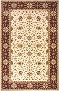 Momeni Rugs Persian Garden Collection, 100% New Zealand Wool Traditional Area Rug, 5' Round, Ivory