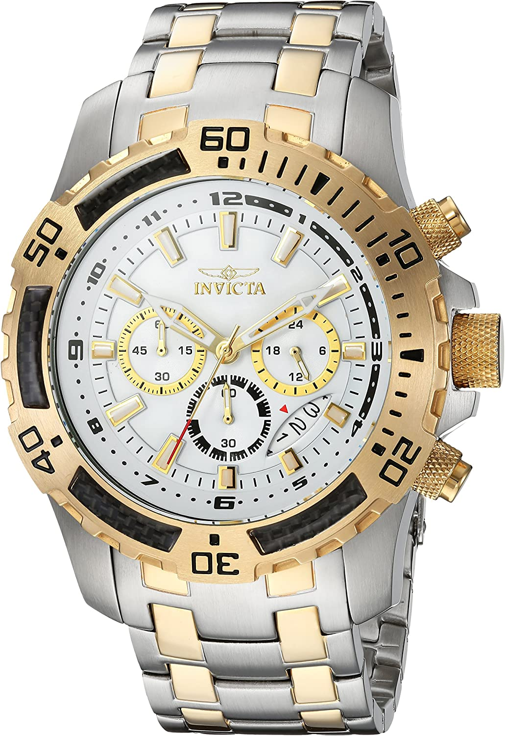 Invicta Men s Pro Diver Quartz Watch with Stainless-Steel Strap, Two Tone, 18.5 Model 24859