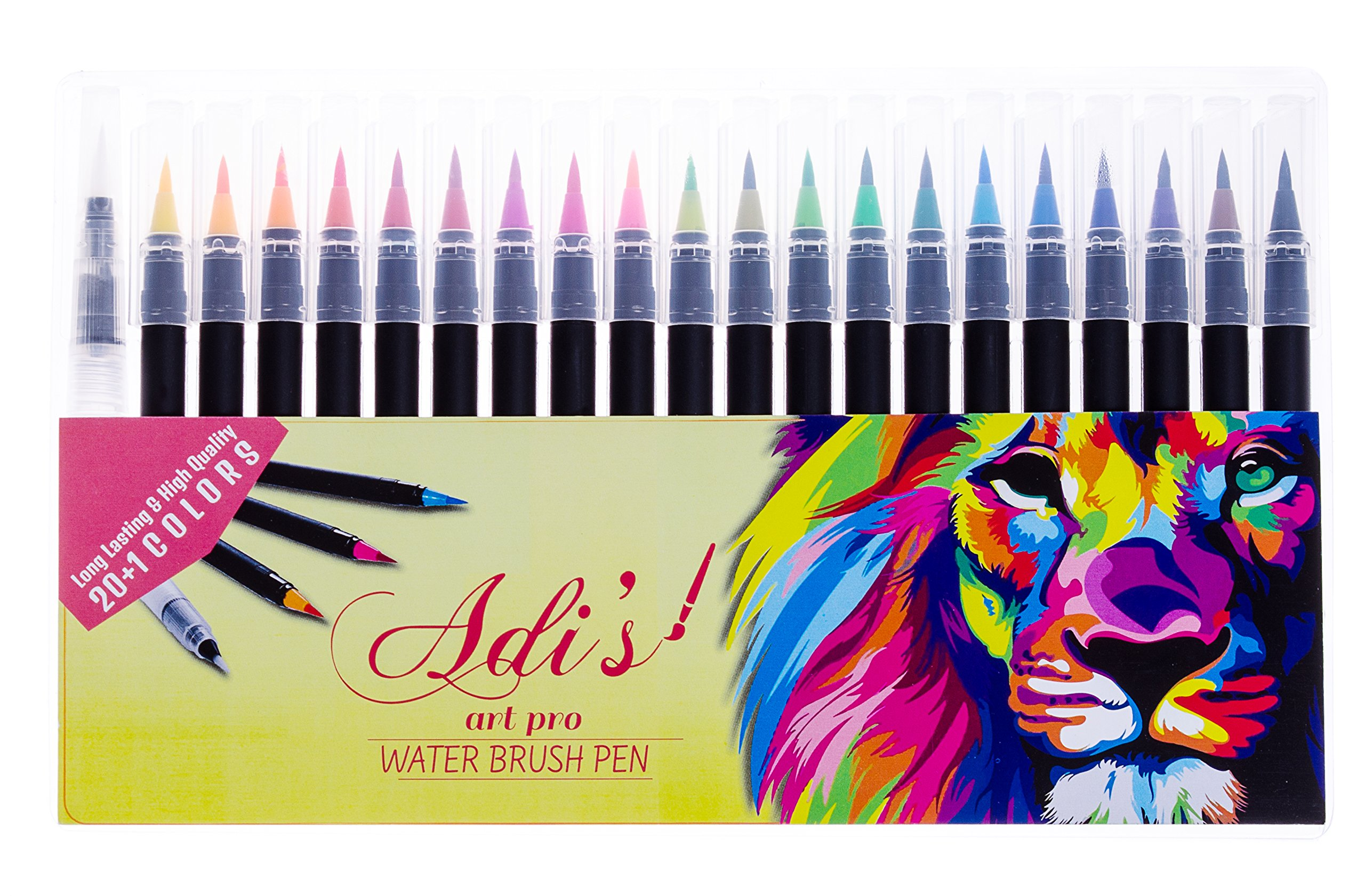 Watercolor Brush Pen Marker 20 Set & 1 Real Brush Water Pens - Fine & Flexible Tips, ErgoLock Caps, Vibrant &Bold Colors -for Drawing, Calligraphy, Sketching, Coloring by Adi's art pro