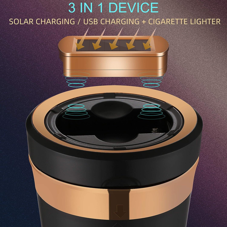 labio para cenicero automotriz con luz LED azul,Naranja cenicero para autom/óvil incluido Bombilla recargable solar y extra/íble FengDing Cenicero para veh/ículo